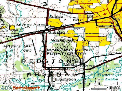 Redstone Arsenal topographic map