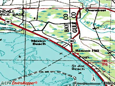 Mexico Beach topographic map