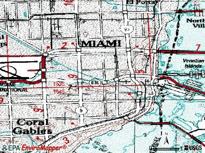 Miami topographic map