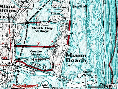 Miami Beach topographic map