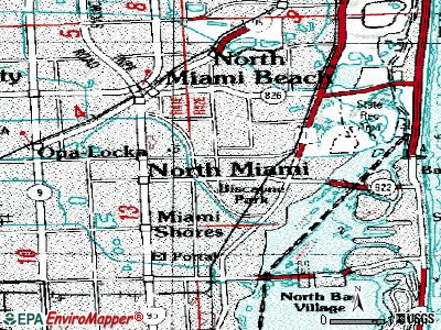 North Miami topographic map