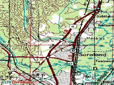 Saraland topographic map