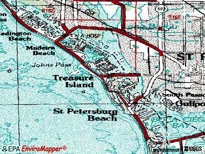 Treasure Island topographic map