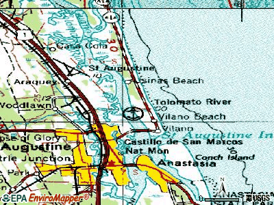Villano Beach topographic map