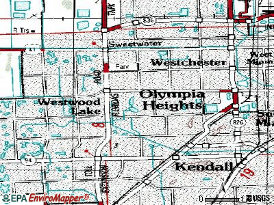 Westwood Lakes topographic map