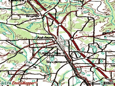 Ashburn topographic map