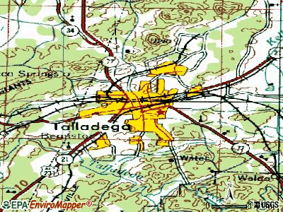 Talladega topographic map