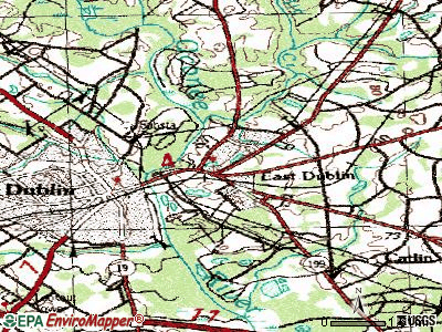 East Dublin topographic map