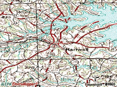 Hartwell topographic map