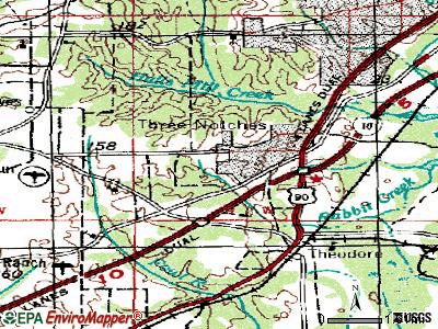 Tillmans Corner topographic map