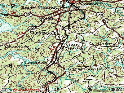 Holly Springs topographic map