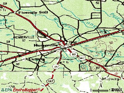 Homerville topographic map
