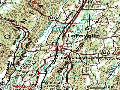 La Fayette topographic map