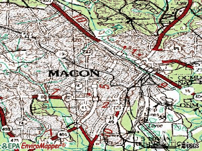 Macon topographic map