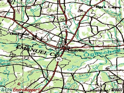 Midville topographic map