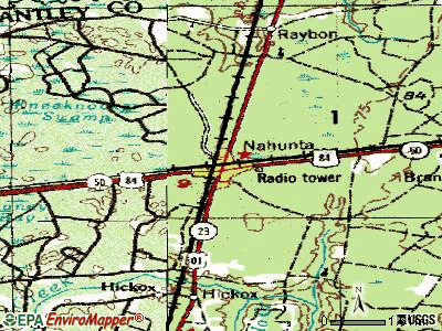 Nahunta topographic map