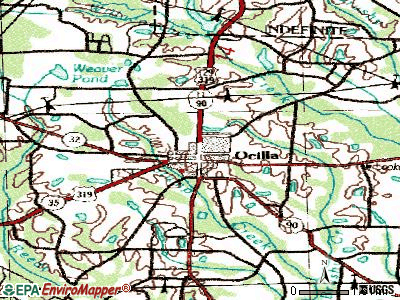Ocilla topographic map