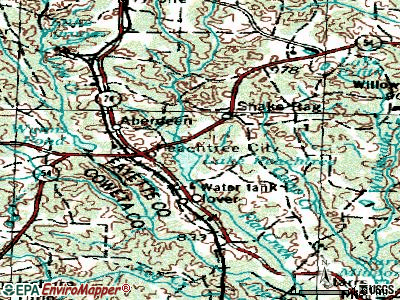 Peachtree City topographic map