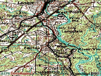 Valley topographic map