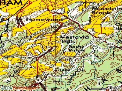 Vestavia Hills topographic map