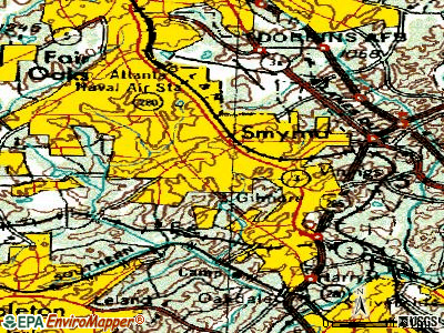 Smyrna topographic map