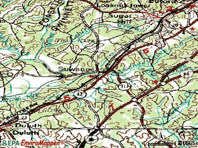 Suwanee topographic map