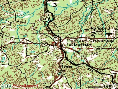 Talbotton topographic map