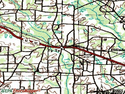 Valdosta topographic map