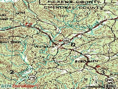 Waleska topographic map