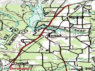 Warwick topographic map