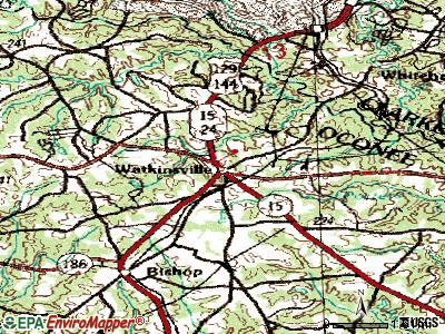 Watkinsville topographic map