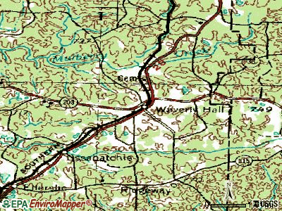 Waverly Hall topographic map