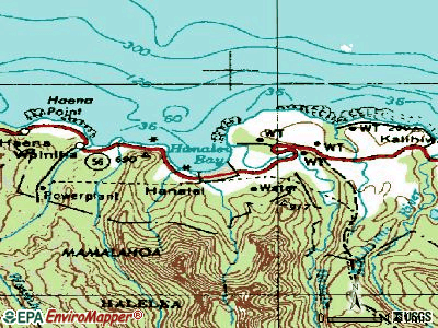 Hanalei topographic map