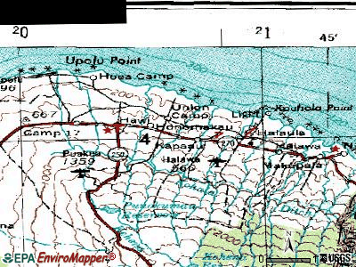 Kapaau topographic map