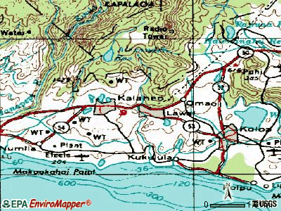 Lawai topographic map