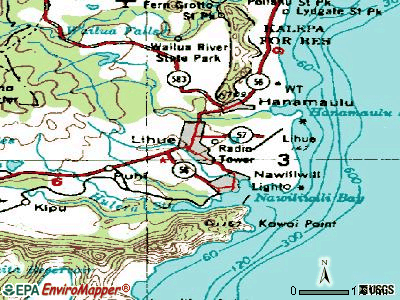 Lihue topographic map