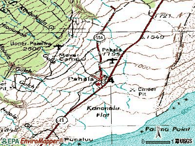 Pahala topographic map