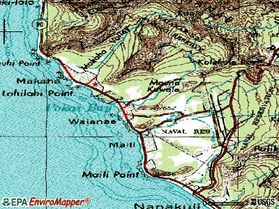 Waianae topographic map