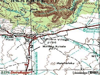 Waimea topographic map