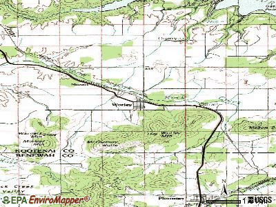 Worley topographic map