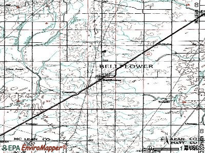 Bellflower topographic map