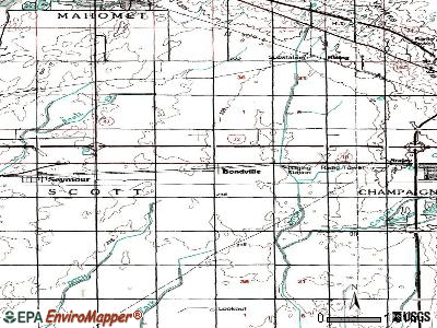 Bondville topographic map