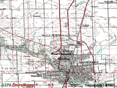 Bourbonnais topographic map