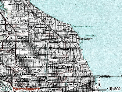 Evanston topographic map