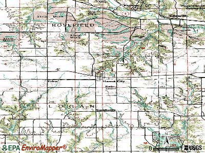 Hanna City topographic map