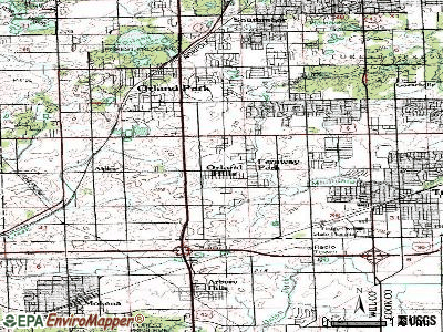 Orland Hills topographic map