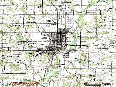 Connersville topographic map