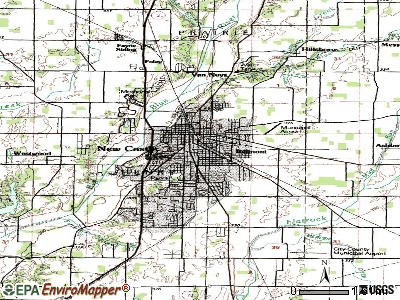 New Castle topographic map