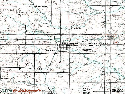 Ackley topographic map
