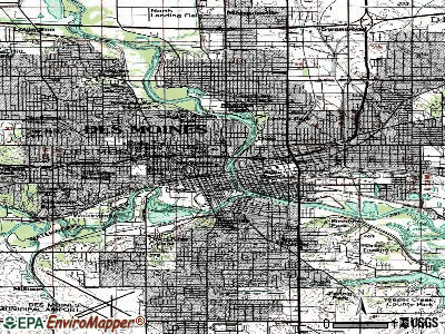 Des Moines topographic map